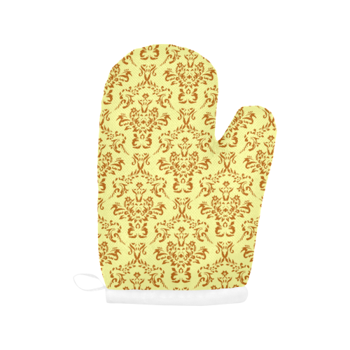 victorian paisley yellow Oven Mitt (Two Pieces)