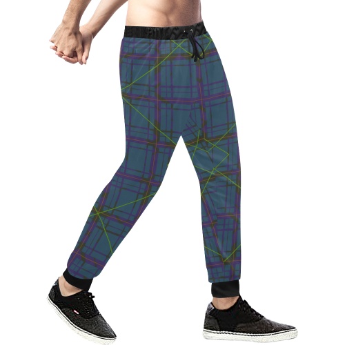 Neon plaid 80's style design Men's All Over Print Sweatpants (Model L11)
