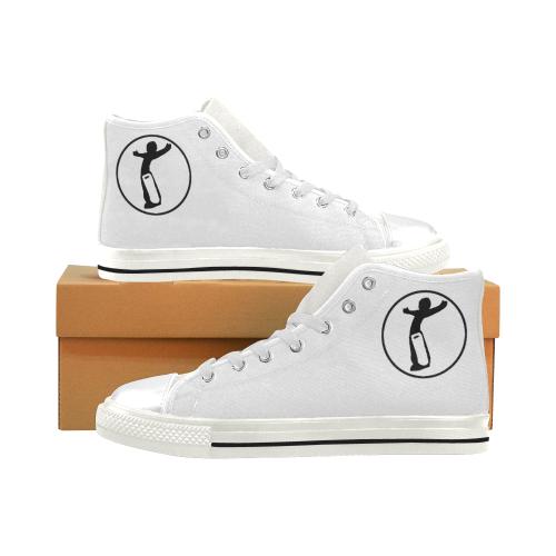 DW Shoe White Black Men's Classic High Top Canvas Shoes (Model 017)
