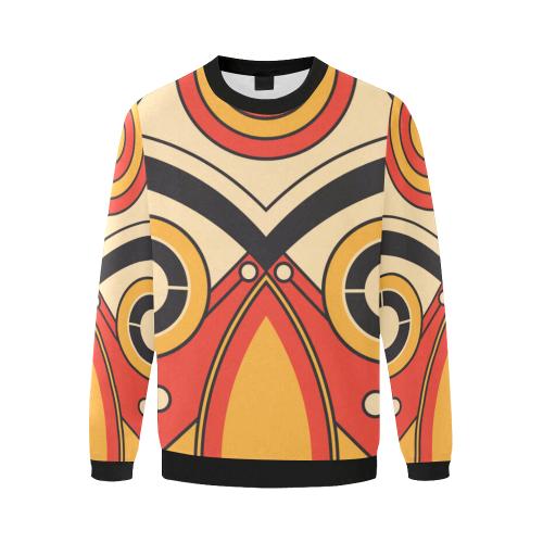Geo Aztec Bull Tribal Men's Oversized Fleece Crew Sweatshirt/Large Size(Model H18)