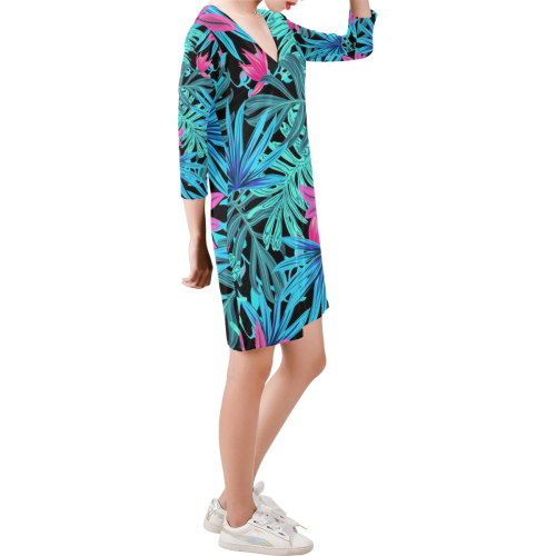 Pretty Leaves 4A by JamColors Deep V Three-Quarter Sleeve Dress (Model D48)