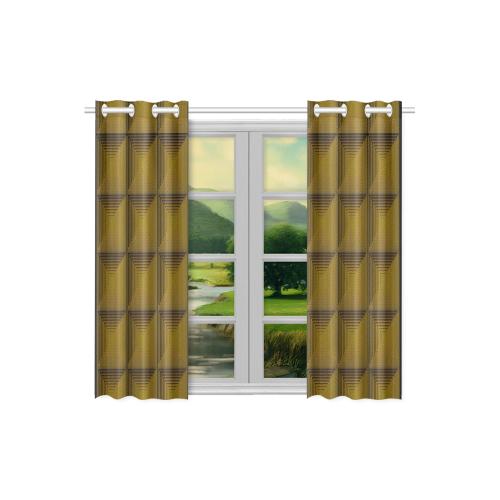 Bronze multicolored multiple squares Kitchen Curtain 26'' X 39''(2 Pieces, 1 Design)