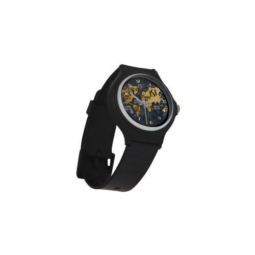 world map watch 3 Unisex Round Plastic Watch(Model 302)