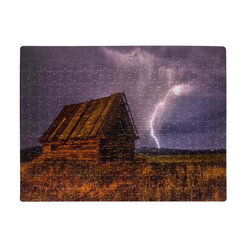 Rustic Barn Lightning Storm A3 Size Jigsaw Puzzle (Set of 252 Pieces)