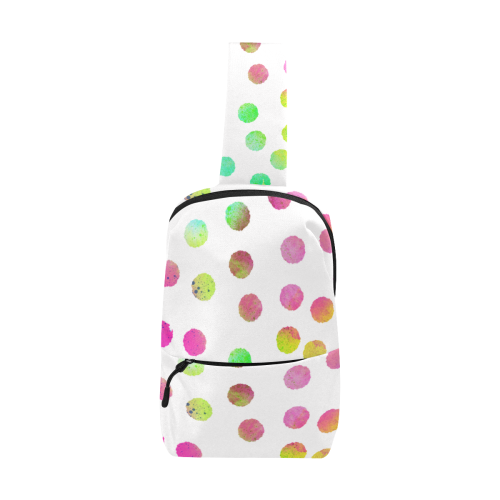 Color Dots White. Inspired by the Magic Island of Gotland. Chest Bag (Model 1678)