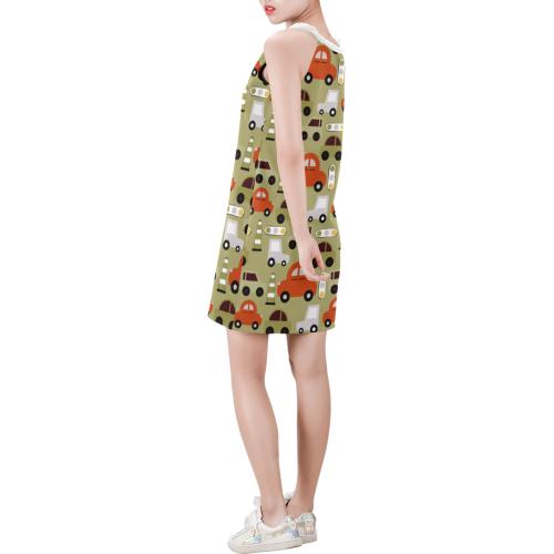 toy cars pattern Sleeveless V Neck Dress (Model D55)