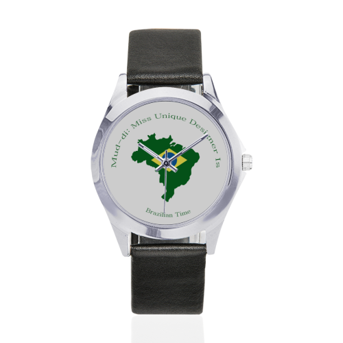 Brazil Flag Outline Unisex Silver-Tone Round Leather Watch (Model 216)