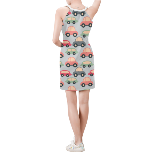 cute kids cars Sleeveless V Neck Dress (Model D55)