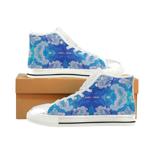 floral burst. Women's Classic High Top Canvas Shoes (Model 017)