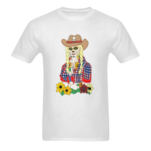 Cowgirl Sugar Skull White Men's Heavy Cotton T-Shirt (Plus-size)