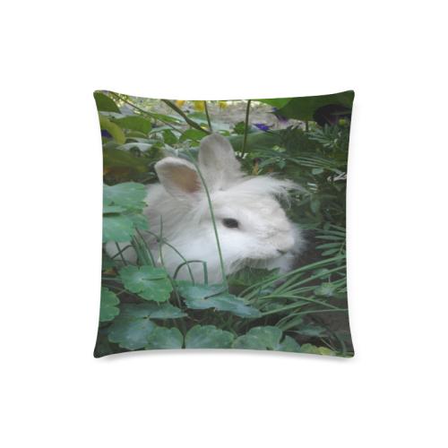 "Precious White Bunny Rabbit Custom Zippered Pillow Case 18""x18""(Twin Sides)"