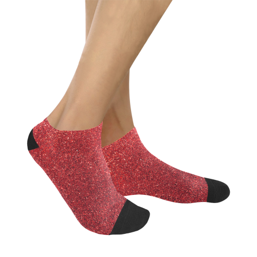 Red Glitter Women's Ankle Socks