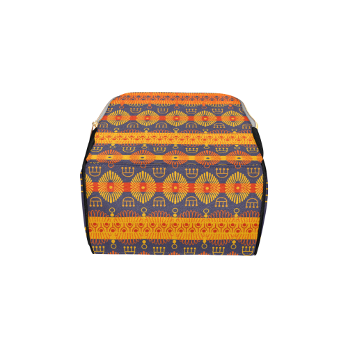 Ethnic Bohemian Orange, Yellow, and Purple Multi-Function Diaper Backpack (Model 1688)