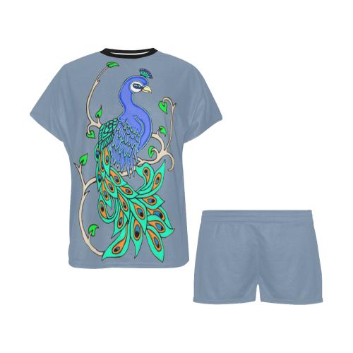 Pretty Peacock Faded Denim Women's Short Pajama Set (Sets 01)