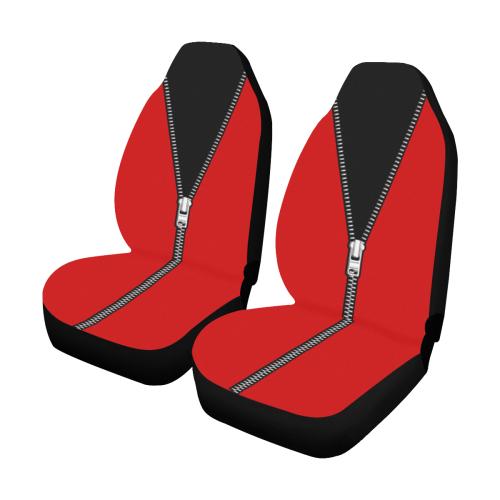 ZIPPER White Grey Black Décolleté Car Seat Covers (Set of 2)