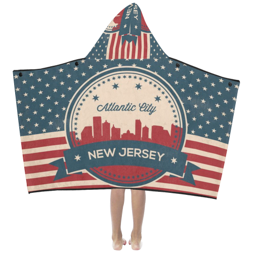 Atlantic City New Jersey Retro Skyline Kids' Hooded Bath Towels