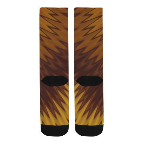 Yellow/Brown Diagonal Pattern Trouser Socks (For Men)