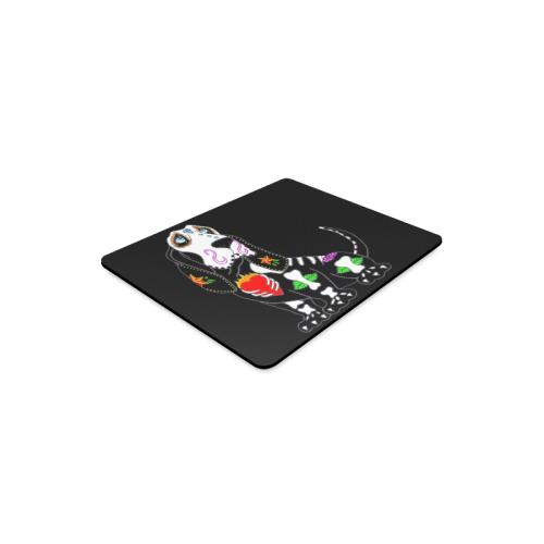 Basset Hound Sugar Skull Black Rectangle Mousepad