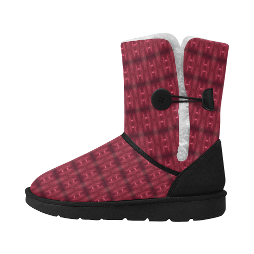 Red Puddle Diamonds Unisex Single Button Snow Boots (Model 051)
