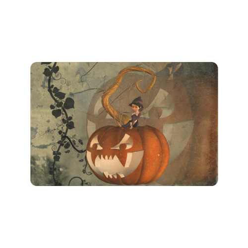 "Halloween, funny pumpkin with witch Doormat 24""x16"" (Black Base)"
