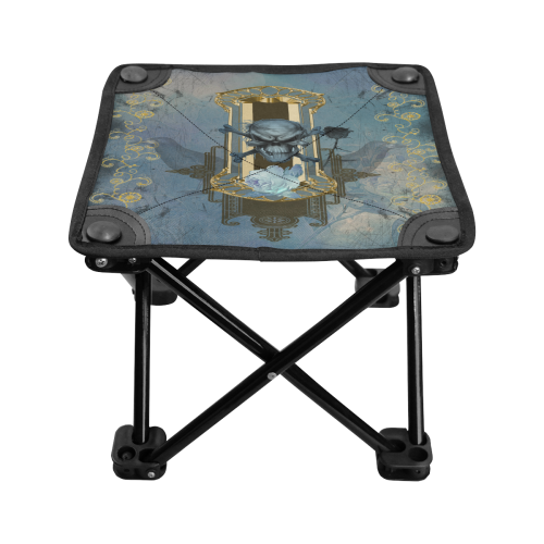 The blue skull with crow Folding Fishing Stool