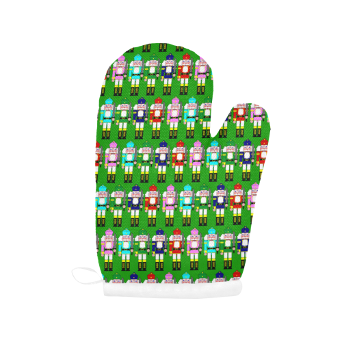 Christmas Nutcracker Toy Soldier on Green Oven Mitt (Two Pieces)
