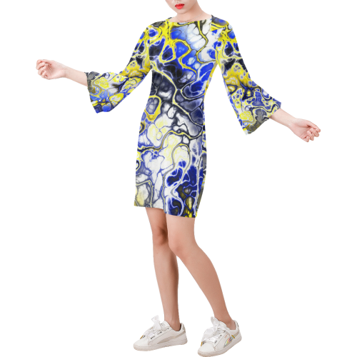 awesome fractal 35A by JamColors Bell Sleeve Dress (Model D52)