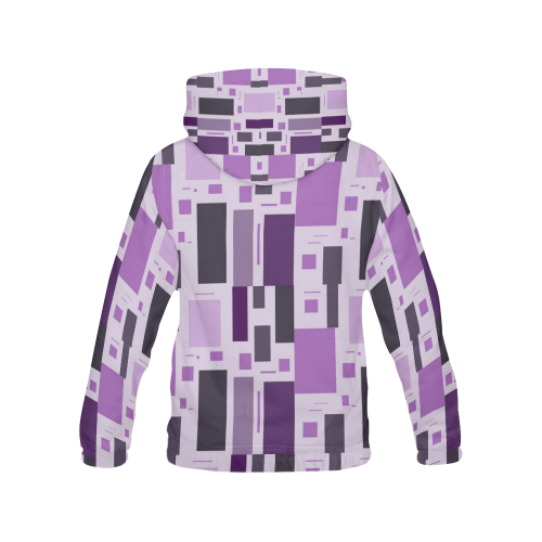 Abstract Purple Squares All Over Print Hoodie (for Men)