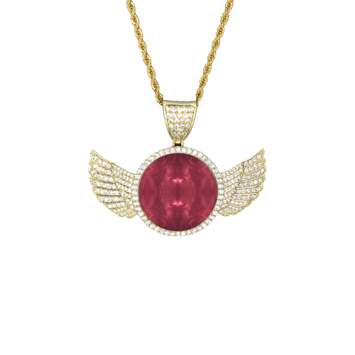 Red Puddle Diamonds Wings Gold Photo Pendant with Rope Chain