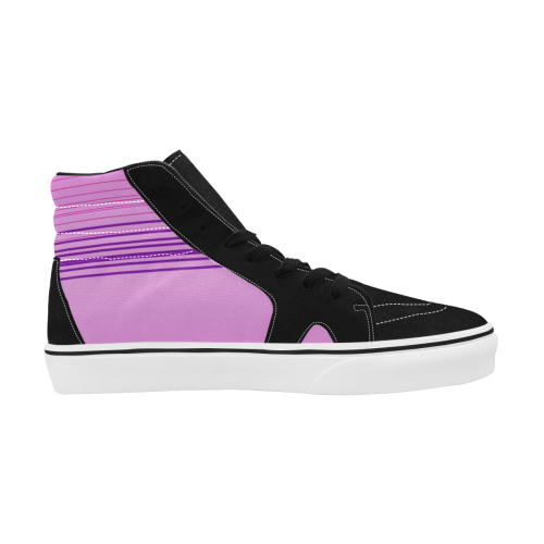 Deluxe pink lines exotico Women's High Top Skateboarding Shoes (Model E001-1)