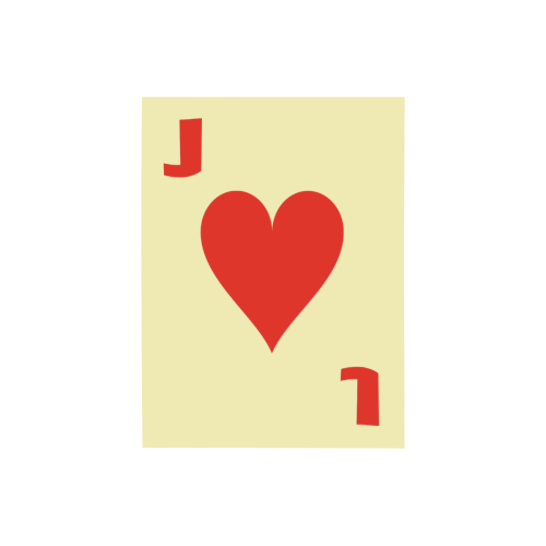"""Playing Card Jack of Hearts on Yellow Photo Panel for Tabletop Display 6""""x8"""""""