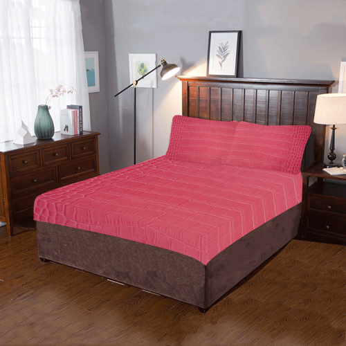 Red Snake Skin 3-Piece Bedding Set