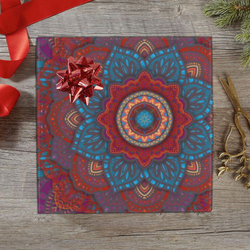 "3D Mandala with Red Lace in Teal, Blue and Purple Gift Wrapping Paper 58""x 23"" (1 Roll)"