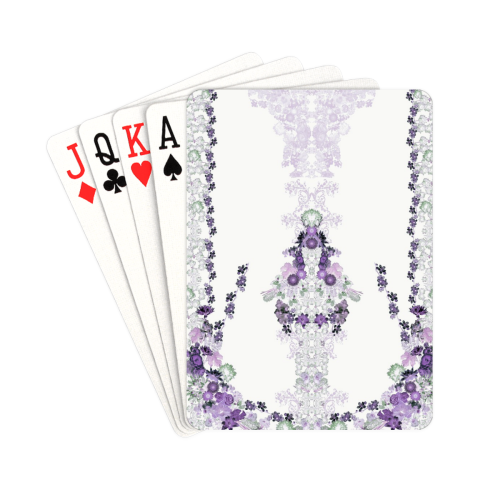 "floral-white and purple Playing Cards 2.5""x3.5"""