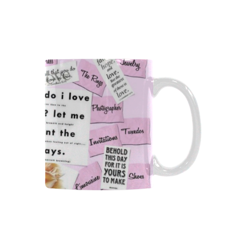 Ceramic Mug Wedding Plans Pink White Custom White Mug (11oz)