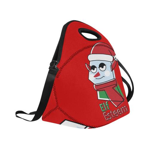 Elf Esteem CHRISTMAS RED Neoprene Lunch Bag/Large (Model 1669)