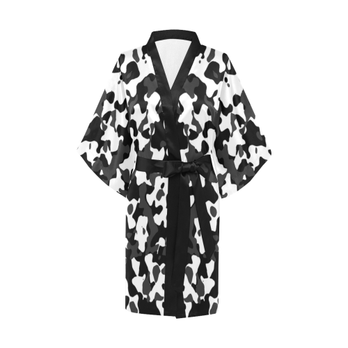 Camouflage Black and White Kimono Robe