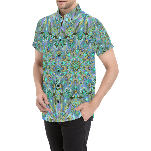 mandala 2 Men's All Over Print Short Sleeve Shirt/Large Size (Model T53)