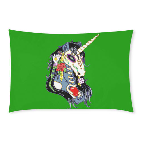 Spring Flower Unicorn Skull Green 3-Piece Bedding Set
