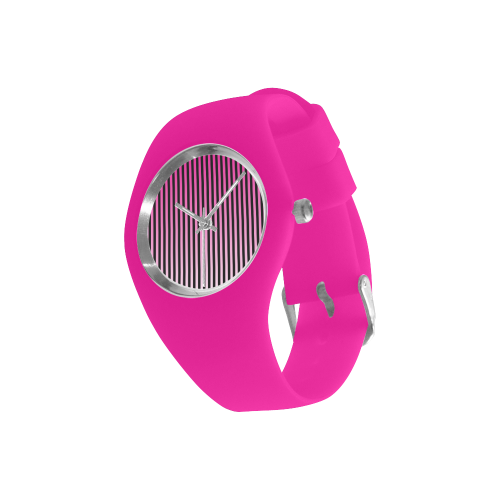 Pink Ombre Stripes on Black Simple Style Candy Silicone Watch (Model 315)
