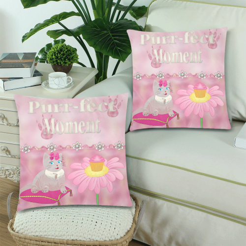 """Purr-fect Moments Custom Zippered Pillow Cases 18""""x 18"""" (Twin Sides) (Set of 2)"""