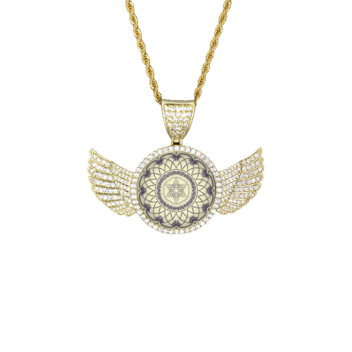 mandala 3D-21 Wings Gold Photo Pendant with Rope Chain