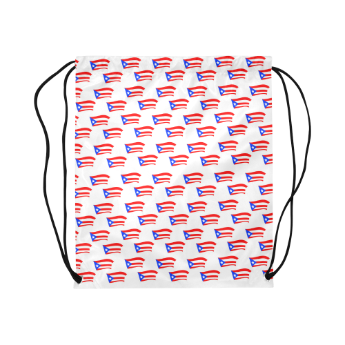 """Puerto Rican Flags White Large Drawstring Bag Model 1604 (Twin Sides)  16.5""""(W) * 19.3""""(H)"""