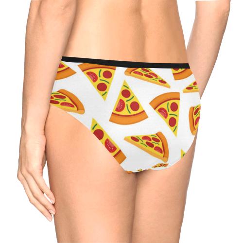Cute and Funny Pizza Women's Underwear Women's Mid Rise Briefs (Model L26)