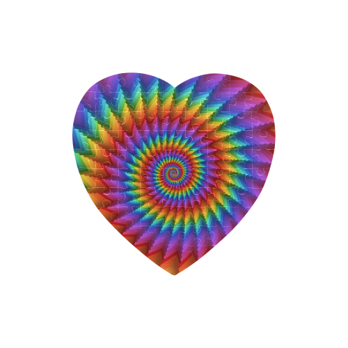 Psychedelic Rainbow Spiral Puzzle Heart-Shaped Jigsaw Puzzle (Set of 75 Pieces)