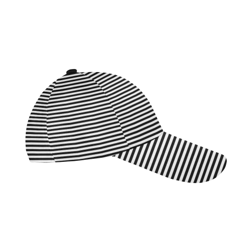 Black and White Stripes All Over Print Baseball Cap B