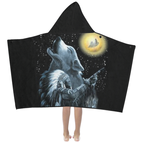 Embrace The Wolf Spirit Kids' Hooded Bath Towels