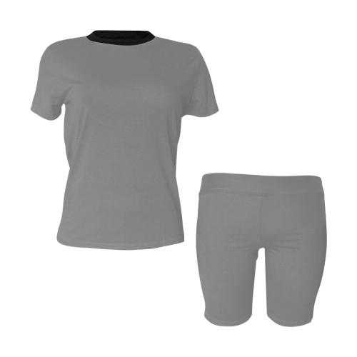 color grey Women's Short Yoga Set (Sets 03)