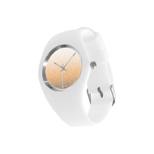 Ombré orange and white swirls doodles Simple Style Candy Silicone Watch (Model 315)