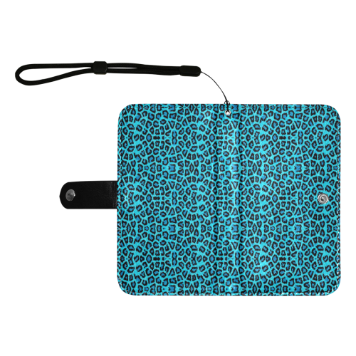 Blue Leopard 4k Flip Leather Purse for Mobile Phone/Large (Model 1703)